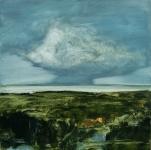 Landscape #6, huile sur bois MDF, 20X20 cm. Disponible.