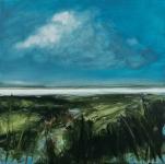Landscape #7, huile sur bois MDF, 20X20 cm. Disponible.