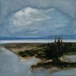 Landscape #9 huile sur bois MDF, 20X20 cm. Disponible