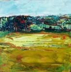 Paysage abstrait #2, acrylique sur contrecollé 20X20 cm. Disponible.