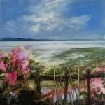 Fleurs devant la mer en bretagne, huile sur bois MDF, 20X20 cm. Disponible.