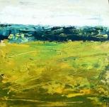 Paysage abstrait au ciel blanc, acrylique sur contrecollé, 20X20 cm. Disponible.