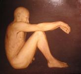 assis, huile sur bois