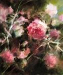 Fabienne Monestier Le rosier rose, huile sur toile, 50X60. Vendu.