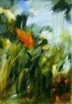 Jardin en automne, acrylique sur toile 92X65 cm. Disponible.