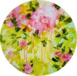 Poésie florale 1, acrylique sur toile, 40 cm diamètre. Disponible.