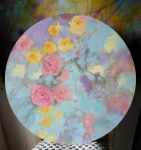 So romantic tondo, acrylique sur toile, 60cm diamètre. Disponible.