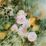 Roses sur fond celadon, hommage à Renoir, huile sur toile, 50X50 cm. Disponible.