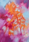 Abstraction florale en rose, gris et orange, huile sur toile. Vendu.
