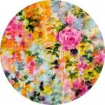 Floral psychédélique, acrylique sur toile,  80 cm diamètre. Disponible.