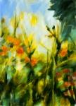 Jardin en automne 2, acrylique sur toile, 92X65 cm. Disponible.