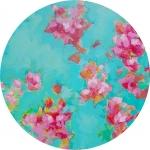 Approach of love, acrylique sur toile, 40 cm diamètre . Disponible.
