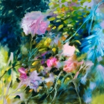 Au jardin, huile sur toile, 70X70 cm Disponible. Fabienne Monestier floral oil painting