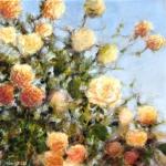Les roses jaunes, technique mixte sur toile, 50X50 cm . Disponible.