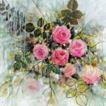 Pluie sur les roses, technique mixte sur toile, 70X70 cm vendu Fabienne Monestier Rain on roses, mixed media on canvas, sold
