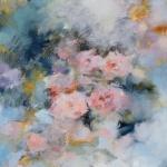 Roses impressionnistes, technique mixte sur carton toilé, 40X40