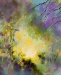Au matin, floral abstrait acrylique sur toile 50X60