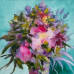 Bouquet sir fond viridian, huile sur toile, 50X50 cm. Disponible. Fabienne Monestier floral oil painting