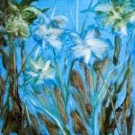 les fleurs blanches, huile sur bois, 20X20 cm Disponible. Fabienne Monestier floral oil painting