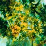 fleurs jaunes en été, huile sur toile, 50X50 cm vendu Fabienne Monestier yellow flowers in summer oil painting sold