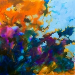 Fleurs abstraites, huile sur toile, 60X60 cm vendu Fabienne Monestier floral abstract oil painting sold