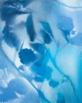 Feuillages en bleu, spray paint sur bois, 19X24 cm. Disponible. Foliages in blue, spray paint on MDF, Available. Fabienne Monestier