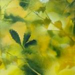 Feuillages en vert et jaune, spray-paint sur bois, 20X20 cm Disponible. Fabienne Monestier Foliages in green and yellow spray