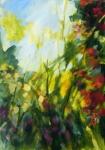 Jardin dans la lumière d'automne, acrylique sur toile, 92X65 cm. Disponible.