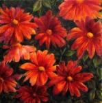les fleurs rouges, technique mixte sur toile, 70X70. Disponible, prix sur demande.