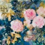 Roses d'automne, technnique mixte sur toile, 60X60 cm. Disponible. Fabienne Monestier floral mixed media painting available