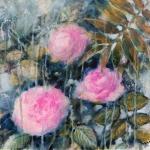 Roses et palme, technique mixte sur toile 40X40 cm Fabienne Monestier disponible mixed media floral painting available