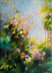 Jardin au printemps, acrylique sur toile, 92X65cm. Disponible.
