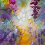 Paysage de rêve, acrylique et neo sur toile 70X70. Vendu