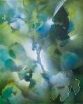 Feuillages en vert et bleu, acrylique en spray sur panneau, 19X24 cm. Vendu.
