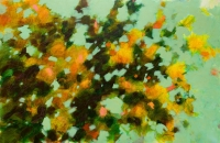 Branches-fleuries-en-vert-et-orange-acrylique-sur-toile-140X90cm