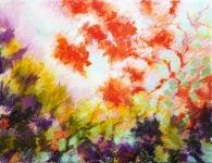 L'arbre rouge huile en batons sur toile 116X89 cm