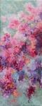 Pink and mint floral oil stick huile sur toile 40X100 cm