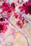 Pink floral acrylique sur toile 130X89 cm