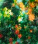 les roses orange acrylique et pastels a la cire sur toile 76X89