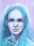 La fille aux cheveux bleus, technique mixte sur papier, 36X48. Disponible.