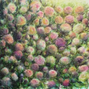 Les roses, crayons aquarellables sur toile, 80X80