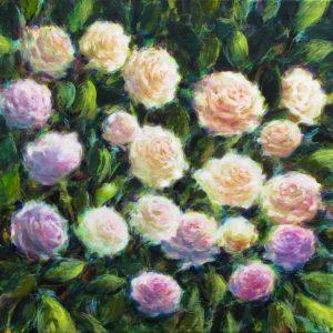 Les roses, technique mixte sur toile, 50X50