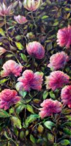 Les fleurs, technique mixte sur toile, 50X100