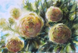 croquis fleurs, aquarelle sur papier, 18X26