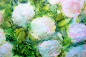 detail les roses 50X0 tech mixte sur toile