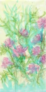 """Etape 1, Fleurs"""", technique mixte sur toile, 50X100"""