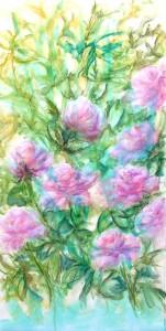 en cours fleurs tech mixte derwent jus acryl neocolor II 50X100 sur toile (2)