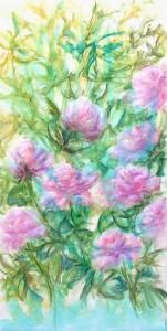 """Etape 2, Fleurs"""", technique mixte sur toile, 50X100"""