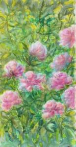 """Etape 3, Fleurs"""", technique mixte sur toile, 50X100"""