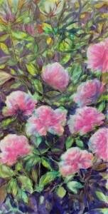 """Etape 4, Fleurs"""", technique mixte sur toile, 50X100"""